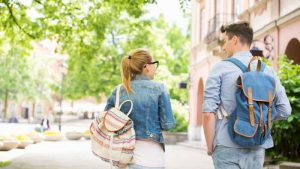Students with Backpacks on College Campus FA~Link